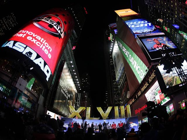 The Roman numerals for Super Bowl XLVIII are unveiled on Super Bowl Boulevard in Times Square Wednesday, Jan. 29, 2014, in New York. The Seattle Seahawks are scheduled to play the Denver Broncos in the NFL Super Bowl XLVIII football game on Sunday, Feb. 2, in East Rutherford, N.J
