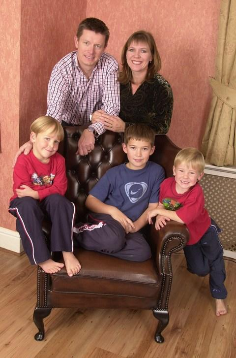 Richard Mason with his ex wife and the three sons he has discovered are not his - Credit: Kevin Holt