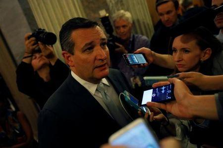 FILE PHOTO: Senator Ted Cruz (R-TX) speaks with reporters on Capitol Hill in Washington, U.S., July 28, 2017. REUTERS/Aaron P. Bernstein