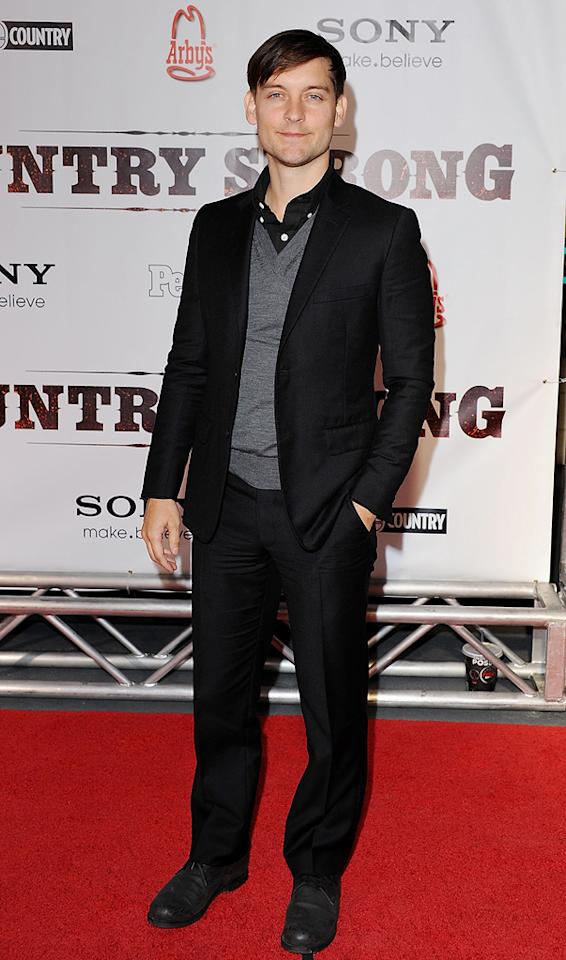 """<a href=""""http://movies.yahoo.com/movie/contributor/1800019261"""">Tobey Maguire</a> attends the Nashville premiere of <a href=""""http://movies.yahoo.com/movie/1810133348/info"""">Country Strong</a> on November 8, 2010."""