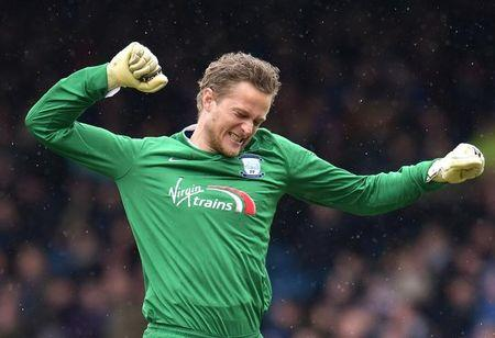 Football Soccer - Blackburn Rovers v Preston North End - Sky Bet Football League Championship - Ewood Park - 2/4/16 Preston's Anders Lindegaard celebrates their second goal Mandatory Credit: Action Images / Paul Burrows Livepic