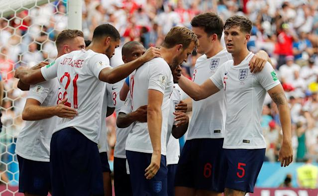 <p>England's Harry Kane celebrates with team mates after scoring their fifth goal REUTERS/Carlos Barria </p>