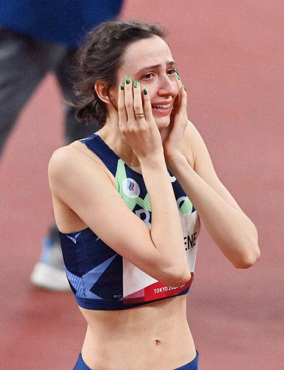 <p>Mariya Lasitskene of Team ROC reacts after winning the gold medal in the Women's High Jump. </p>