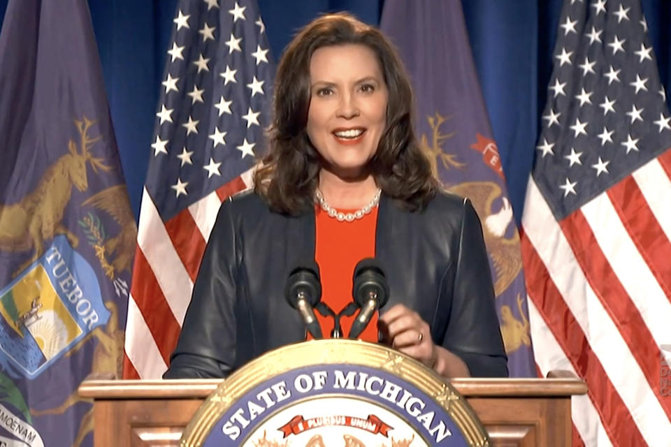 In this screenshot from the DNCC's livestream of the 2020 Democratic National Convention, Michigan Gov. Gretchen Whitmer addresses the virtual convention on August 17, 2020. (Handout/DNCC via Getty Images)