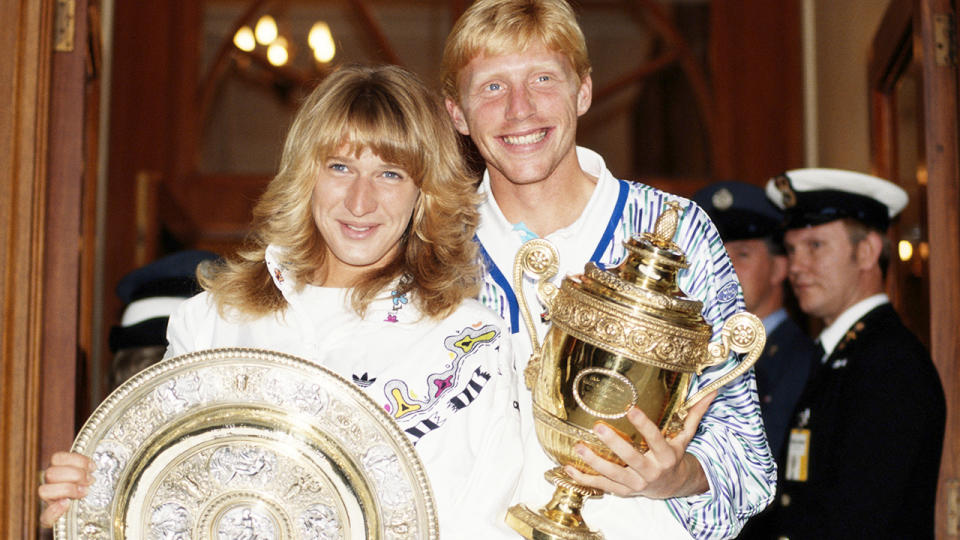 Steffi Graf and Boris Becker, pictured here after their Wimbledon triumphs in 1989.