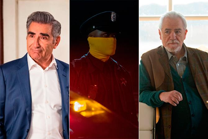'Schitt's Creek' (imagen cortesía de Movistar+), 'Watchmen 'y 'Succession' (cortesía de HBO)