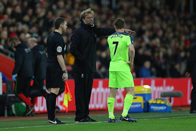 <p>Klopp tells James Milner what he wants from Liverpool (Getty Images) </p>