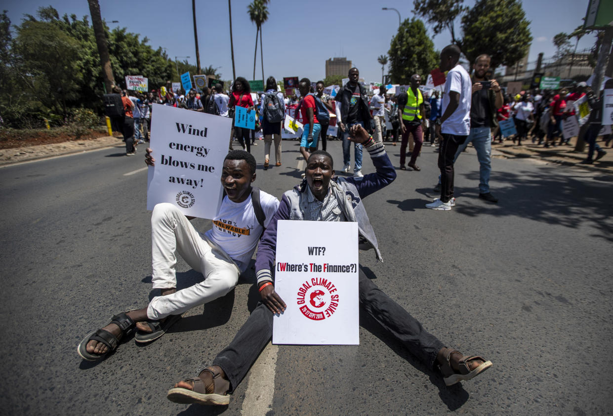 Around a thousand protesters march to demand action on climate change, in the streets of downtown Nairobi, Kenya Friday, Sept. 20, 2019. Protesters around the world joined rallies on Friday as a day of worldwide demonstrations calling for action against climate change began ahead of a U.N. summit in New York. (Photo: Ben Curtis/AP)