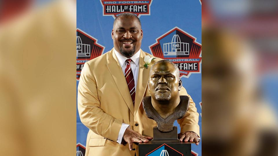 Mandatory Credit: Photo by Tony Dejak/AP/Shutterstock (6120651ad)Walter Jones Hall of Fame inductee Walter Jones poses with his bust during the 2014 Pro Football Hall of Fame Enshrinement Ceremony at the Pro Football Hall of Fame, in Canton, OhioHall of Fame Football, Canton, USA.