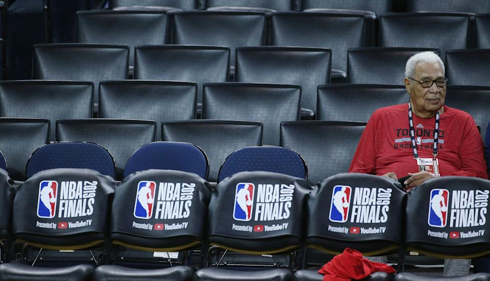 Wayne Embry watches as the Toronto Raptors and the Golden State Warriors practice on the eve of Game 4 of the NBA Finals at Oracle Arena in Oakland on June 6, 2019.