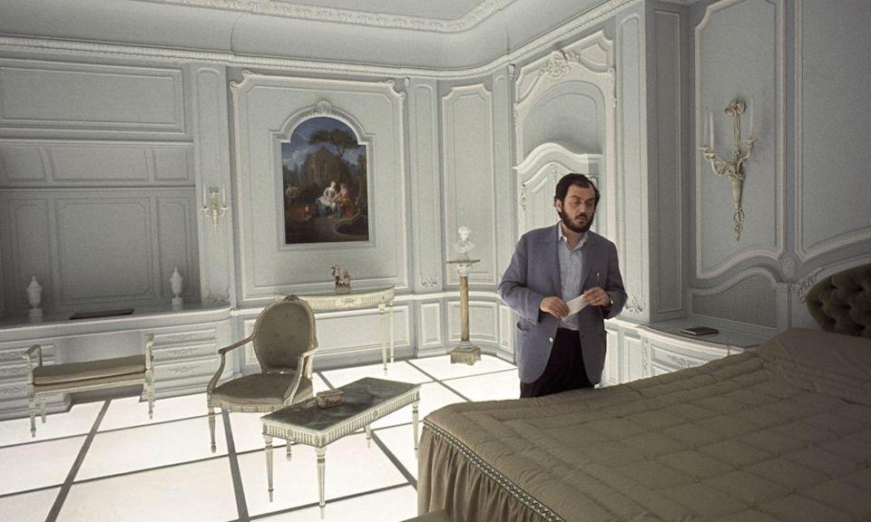 <p>Director Stanley Kubrick is seen on the futuristic set of his film, 2001: A Space Odyssey. Kubrick was very hands-on with the set details and the special effects used for the movie.</p>