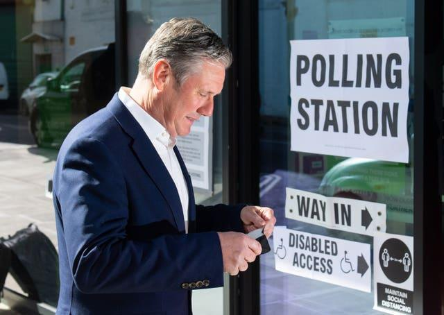 Sir Keir Starmer arrives to cast his vote in the London mayoral election