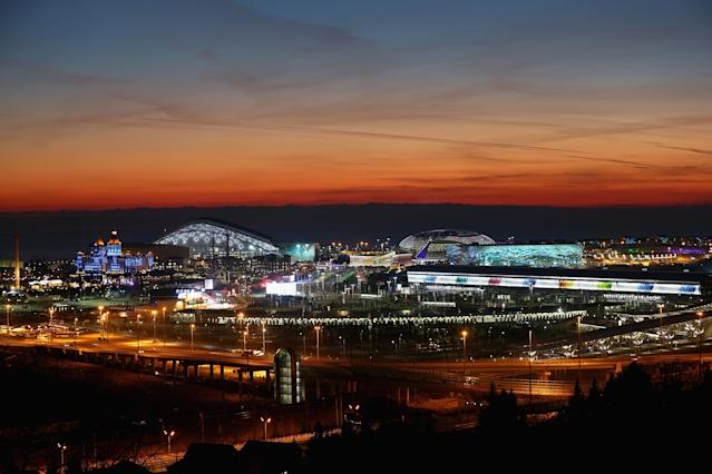SOCHI, RUSSIA - FEBRUARY 07: A general view of sunset at the Olympic Park during the Opening Ceremony of the Sochi 2014 Winter Olympics at Fisht Olympic Stadium on February 7, 2014 in Sochi, Russia. (Photo by Streeter Lecka/Getty Images)