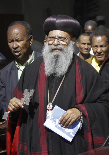 New leader of Ethiopia's orthodox church Abune Matias, 71, center, is seen after being elected in Addis Ababa, Ethiopia, Thursday, Feb. 28, 2013. Ethiopia's orthodox church on Thursday elected Matias as the 6th Patriarch of the church officially known as the Ethiopian Orthodox Tewahedo Church, an influential body in the predominantly Christian nation. (AP Photo)