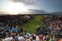 Northern Ireland's Darren Clarke tees off the 1st to start day one of The Open Championship 2019 at Royal Portrush Golf Club.