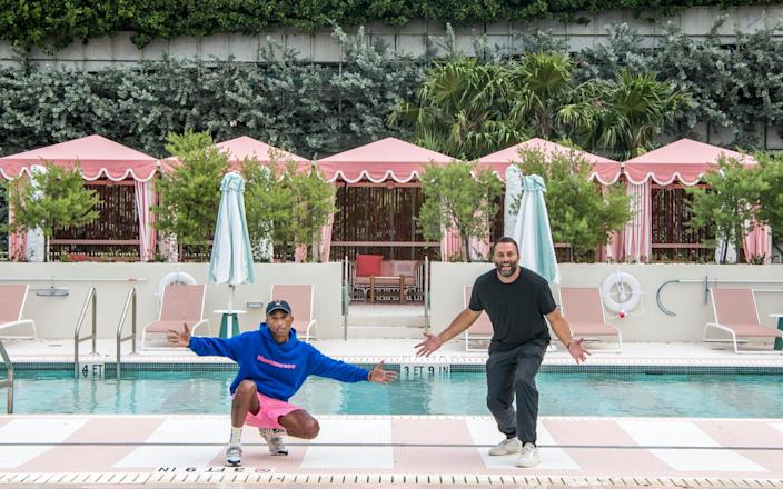 Pharrell Williams and David Grutman at the Goodtime Hotel  - Alice Gao