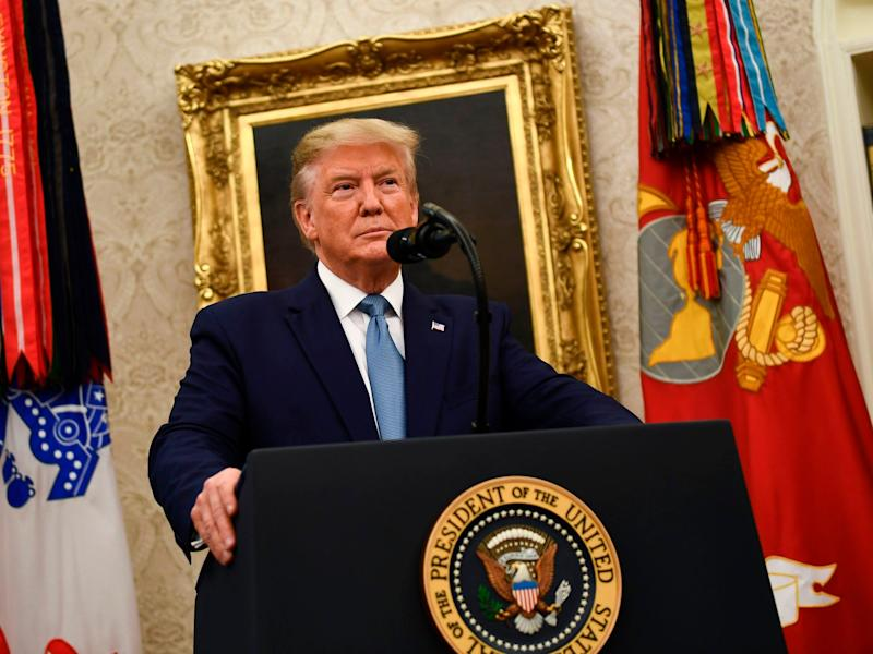Donald Trump 's White House says impeachment inquiry 'violates the Constitution': AFP via Getty Images