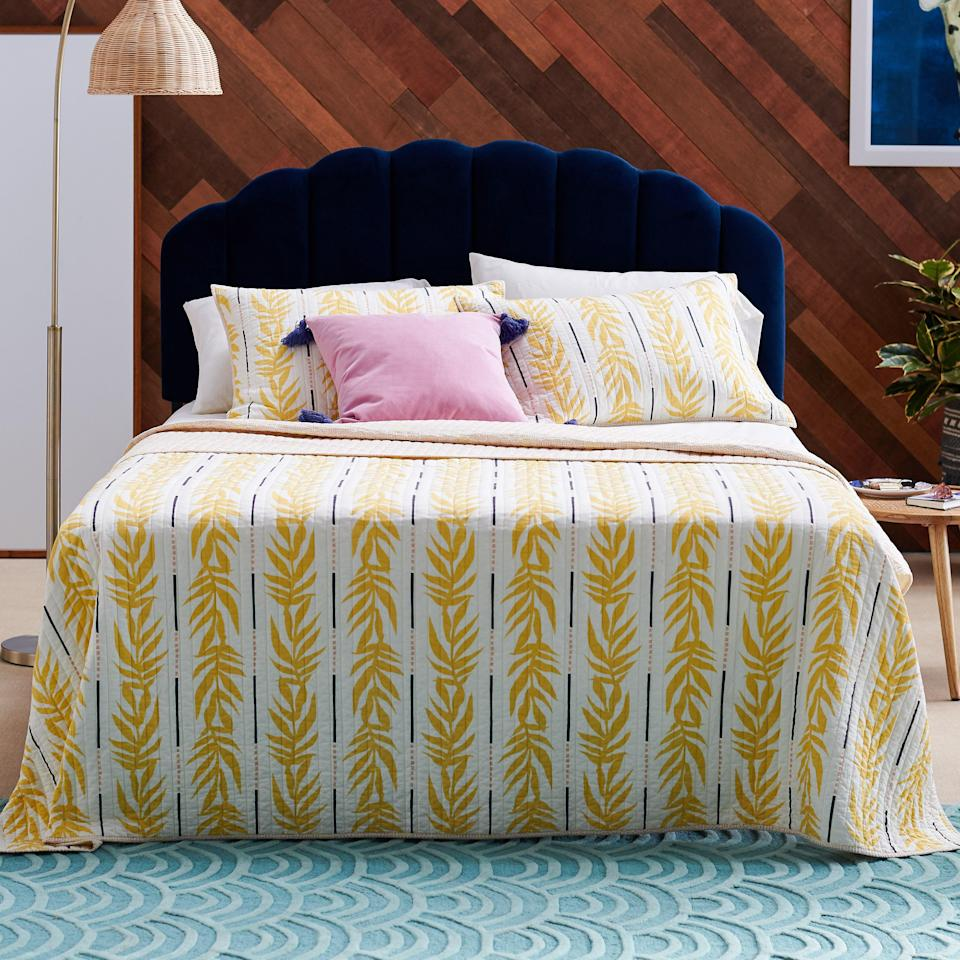 "<h3>Vintage-Inspired Palm Quilt Set</h3><p>Dress your bed for summer in a sunny palm-print spread exclusively designed by Drew Barrymore for her new <a href=""https://www.walmart.com/search/?query=drew%20barrymore%20flower%20home&redirect=false"" rel=""nofollow noopener"" target=""_blank"" data-ylk=""slk:Flower Home"" class=""link rapid-noclick-resp"">Flower Home</a> line. The soft cotton set includes a reversible quilt along with two matching shams. (Our senior shopping director has this set and absolutely vouches for its quality and look — it feels good and brightens up her bedroom.)</p><br><br><strong>Drew Barrymore Flower Home</strong> Vintage Palm 3 Piece Quilt Set, $65, available at <a href=""https://www.walmart.com/ip/Vintage-Palm-3-Piece-Quilt-Set-by-Drew-Barrymore-Flower-Home/389040989"" rel=""nofollow noopener"" target=""_blank"" data-ylk=""slk:Walmart"" class=""link rapid-noclick-resp"">Walmart</a>"