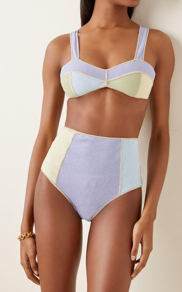 <p>This stunning <span>Oseree Lumière Colorblocked Bikini Set</span> ($320) is a compliment magnet.</p>