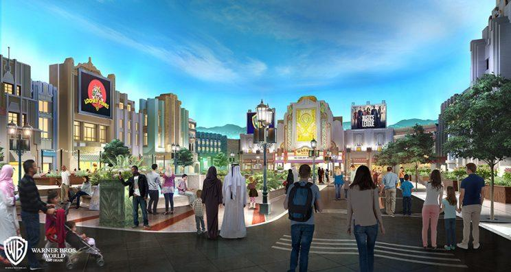 Concept art of Warner Bros. Plaza for proposed Warner Bros. theme park in Abu Dhabi, the United Arab Emirates