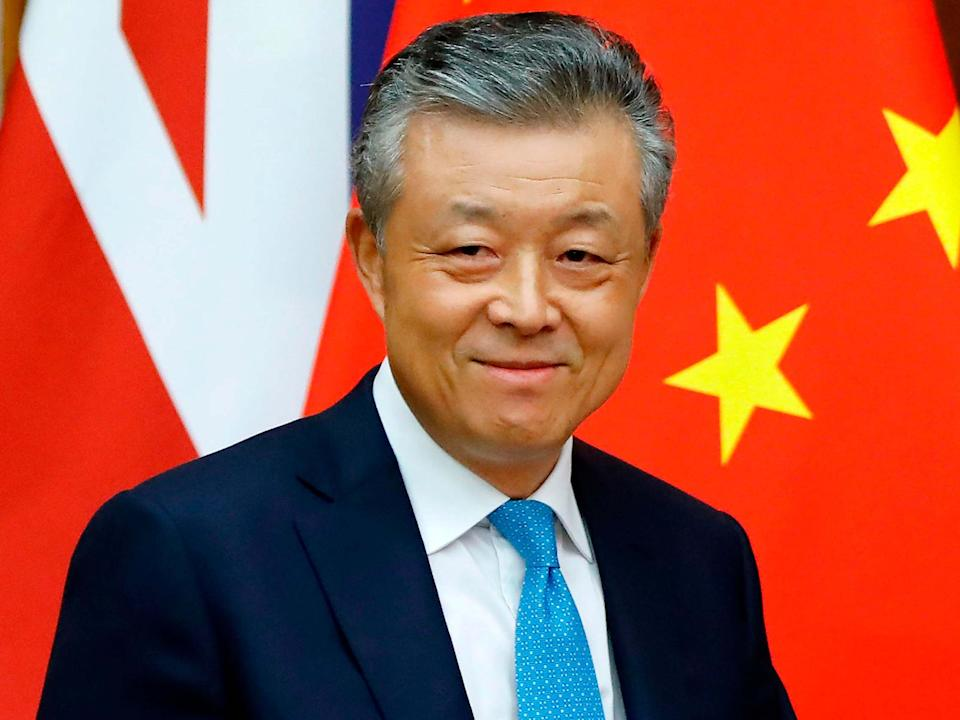 China's ambassador to Britain Liu Xiaoming arrives to speak to members of the media at the Chinese Embassy in London: AFP via Getty Images