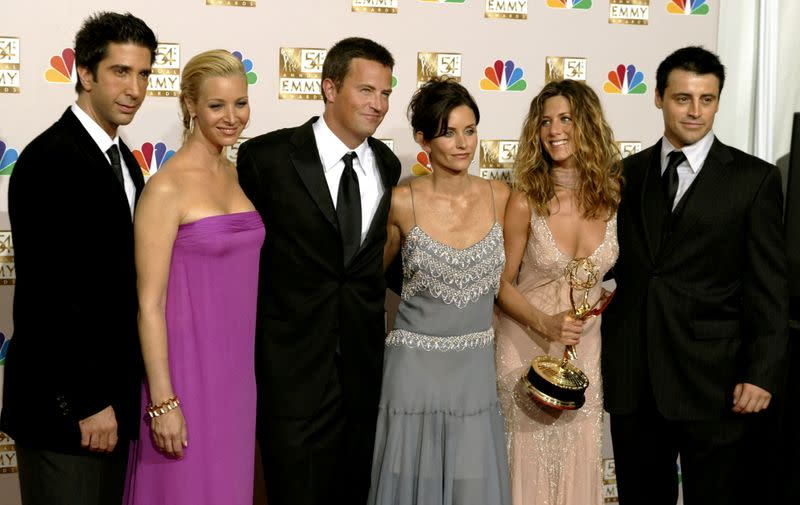 """FILE PHOTO: The cast of """"Friends"""" appears in the photo room at the 54th annual Emmy Awards in Los Angeles"""