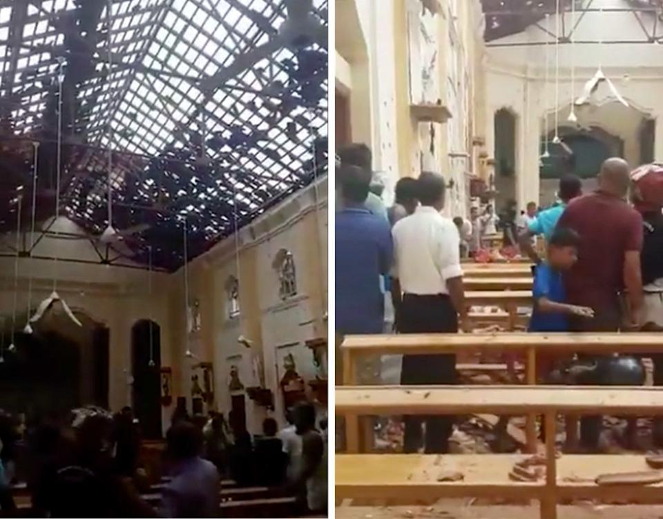 Inside one of the Sri Lankan churches bombed during Easter Sunday worship. Source: Mohsin Ali Raza/Twitter 