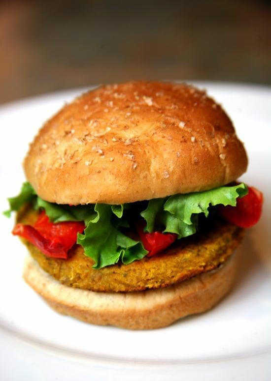 """<p>Completely vegan and packed with vitamin A, this sweet potato, chickpea, and quinoa veggie burger is perfectly spiced and completely satisfying. You can also make this <a href=""""https://www.popsugar.com/fitness/Sweet-Potato-Black-Bean-Veggie-Burger-31826317"""" class=""""link rapid-noclick-resp"""" rel=""""nofollow noopener"""" target=""""_blank"""" data-ylk=""""slk:spicy black bean veggie burger"""">spicy black bean veggie burger</a>. Serve yours with a crisp salad or cook some seasonal veggies on the grill.</p> <p><strong>Get the recipe:</strong> <a href=""""https://www.popsugar.com/fitness/Spicy-Quinoa-Veggie-Burger-Recipe-8205066"""" class=""""link rapid-noclick-resp"""" rel=""""nofollow noopener"""" target=""""_blank"""" data-ylk=""""slk:sweet potato, chickpea, and quinoa veggie burger"""">sweet potato, chickpea, and quinoa veggie burger</a></p>"""