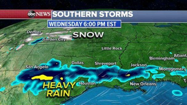 PHOTO: Wednesday, the heaviest rain will begin in Texas and will move east over the next 24 hours. (ABC News)
