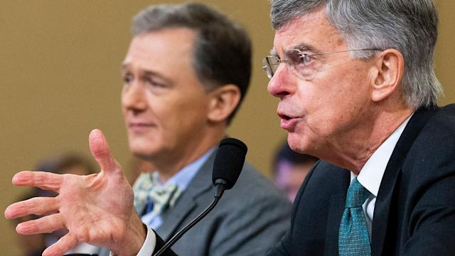 George Kent, left, and Bill Taylor during the hearing on the impeachment inquiry into President Trump. (Photo: Michael ReynoldsEPA-EFE/Shutterstock)