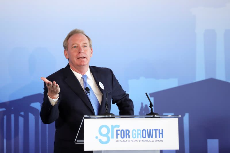 FILE PHOTO: Microsoft President Brad Smith speaks during a company event in Athens, Greece