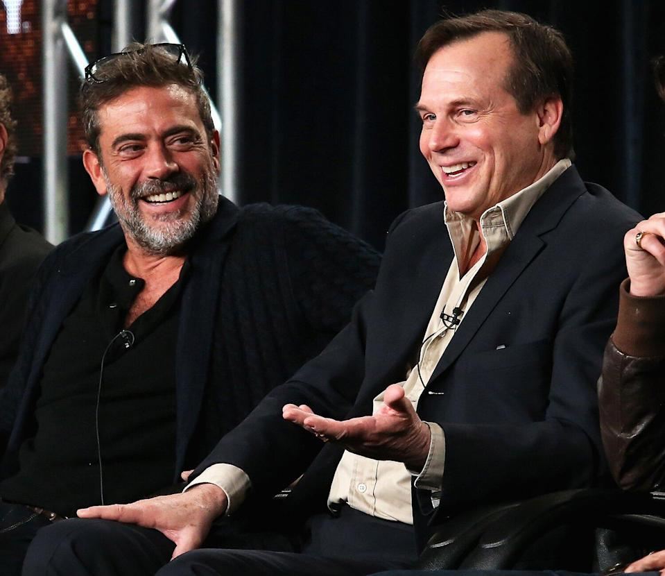 Jeffrey Dean Morgan and Bill Paxton speak onstage during the 'Texas Rising' panel at the A&E Networks portion of the 2015 Winter Television Critics Association press tour at the Langham Hotel on January 9, 2015 in Pasadena, California.