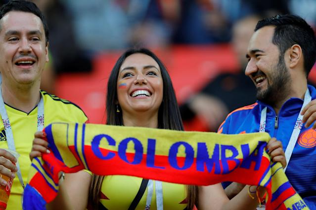 <p>Fans are seen during the 2018 FIFA World Cup Russia Round of 16 match between Colombia and England at the Spartak Stadium in Moscow, Russia on July 03, 2018. (Photo by Sefa Karacan/Anadolu Agency/Getty Images) </p>