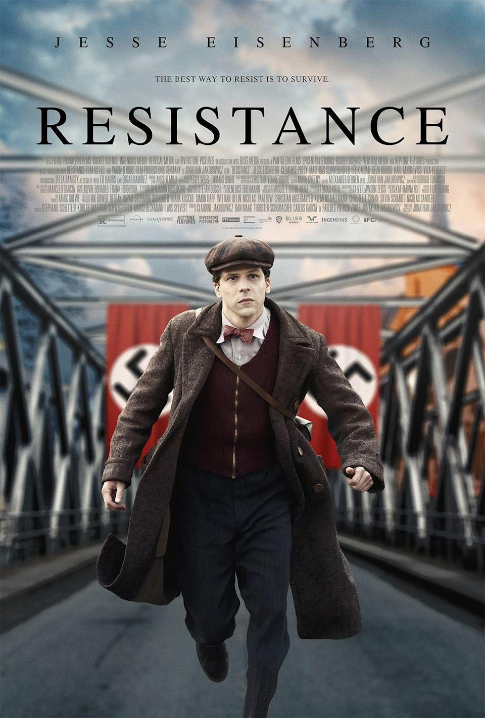 """<p>In this movie based on a true story, a mime named Marcel Marceau, played by Jesse Eisenberg, becomes an unlikely hero when he aids the French Resistance in helping to smuggle orphaned Jewish children threatened by the Nazis across the border to Switzerland. While Marceau's legacy has always revolved heavily around his mime art, this film shines a light on his humanitarian work.</p><p><a class=""""link rapid-noclick-resp"""" href=""""https://www.amazon.com/Resistance-Jesse-Eisenberg/dp/B0868SYSTF?tag=syn-yahoo-20&ascsubtag=%5Bartid%7C10063.g.36572054%5Bsrc%7Cyahoo-us"""" rel=""""nofollow noopener"""" target=""""_blank"""" data-ylk=""""slk:Watch Here"""">Watch Here</a></p>"""