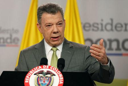 Colombia's President Juan Manuel Santos speaks during a news conference in Bogota