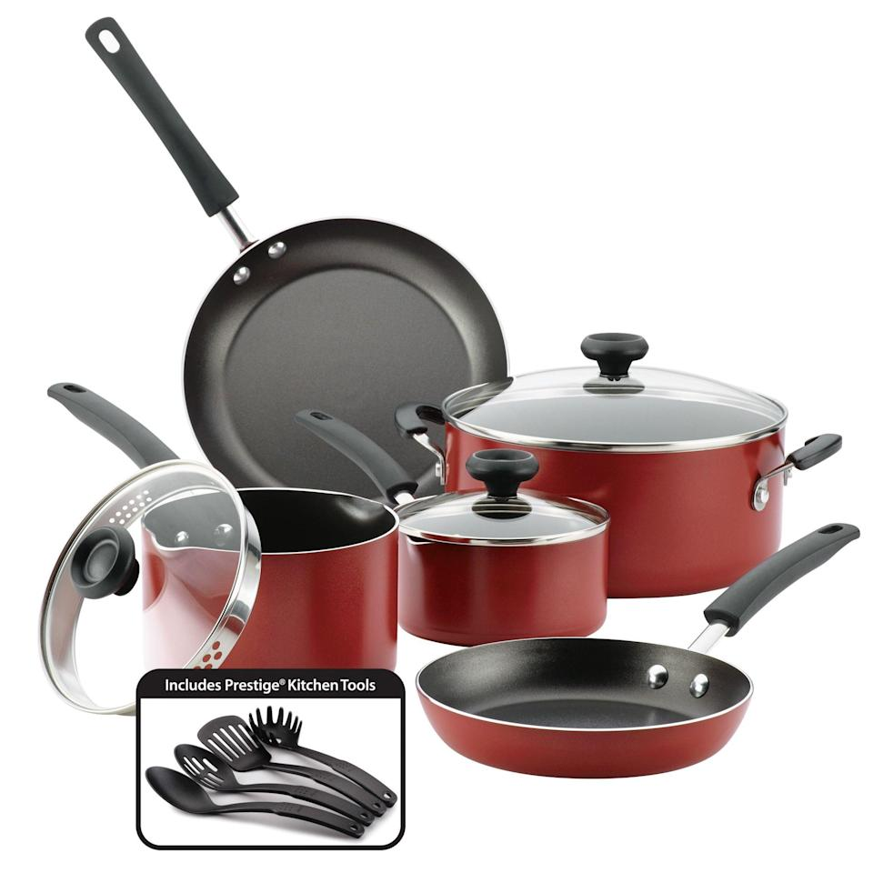 """<p><strong>Farberware</strong></p><p>walmart.com</p><p><strong>$75.10</strong></p><p><a href=""""https://go.redirectingat.com?id=74968X1596630&url=https%3A%2F%2Fwww.walmart.com%2Fip%2F437824566&sref=https%3A%2F%2Fwww.womansday.com%2Frelationships%2Ffamily-friends%2Fg36467619%2Fbest-college-graduation-gifts%2F"""" rel=""""nofollow noopener"""" target=""""_blank"""" data-ylk=""""slk:Shop Now"""" class=""""link rapid-noclick-resp"""">Shop Now</a></p><p>Everyone needs nice pots and pans, and chances are new grads aren't spending money on a decent set. I owned, like, one pan for the first few years after graduation. Treat the former student in your life to a 12-piece set that comes with kitchen utensils as well.</p>"""