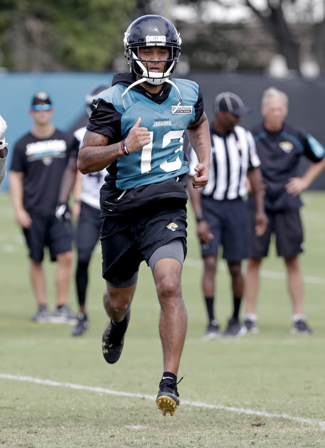 Jacksonville Jaguars wide receiver Rashad Greene runs wind sprints at the end of an NFL football practice Wednesday, June 13, 2018, in Jacksonville, Fla. (AP Photo/John Raoux)