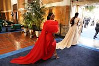 """<p class=""""body-dropcap"""">Hollywood's biggest night has finally arrived. </p><p class=""""body-text"""">Though the 93rd annual Academy Awards ceremony was originally postponed due to COVID-19 concerns, the Oscars are back tonight—albeit on a much smaller scale.</p><p class=""""body-text"""">'It's not going to be like anything that's been done before, so we're leaning into that,' said Steven Soderbergh, one of the ceremony's producers, in a <a href=""""https://www.usatoday.com/story/entertainment/movies/2021/04/17/oscars-2021-producers-talk-pulling-off-red-carpet-masks/7269218002/"""" rel=""""nofollow noopener"""" target=""""_blank"""" data-ylk=""""slk:press conference"""" class=""""link rapid-noclick-resp"""">press conference</a>. Stacey Sher, another producer, added, 'It's not a traditional (Oscar) red carpet, it's a teeny-tiny red carpet. It's a very small footprint for safety reasons, obviously.'</p><p class=""""body-text"""">Nevertheless, Hollywood veterans and newcomers brought their A game to the red carpet in LA and London. </p><p class=""""body-text"""">See all the glamorous looks as the stars arrived.</p>"""