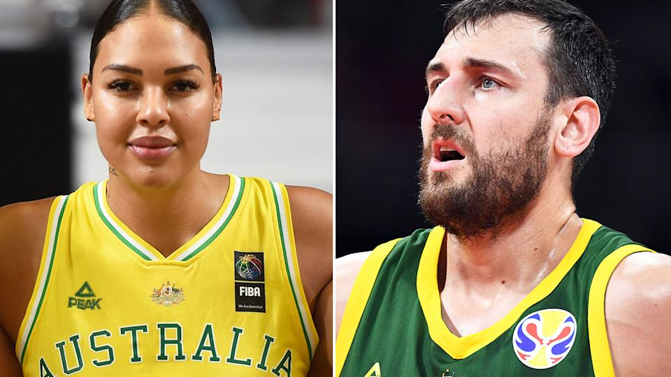 Pictured here, Aussie basketball icons Liz Cambage and Andrew Bogut.