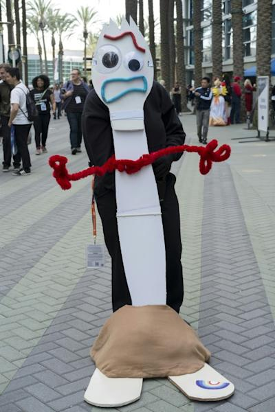 """The newest member of the """"Toy Story"""" gang in the 4th film is Forky -- here, a fan portrays the plastic fork at WonderCon 2019 at Anaheim Convention Center on March 29, 2019"""