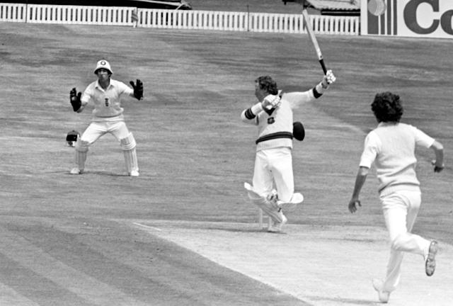 His ferocious bowling ripped through Australia - with Kim Hughes' hat falling off as the batsman attempted to evade a short ball from Willis. (Photo by PA Images via Getty Images)