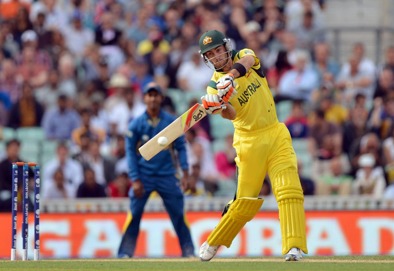 Australia's Glenn Maxwell bats during the ICC Champions Trophy match at The Oval, London.