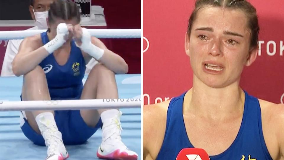 Australian boxer Skye Nicholson was absolutely shattered after losing out in the quarter finals at the Tokyo Olympics by a 3-2 split decision. Pictures: Channel 7