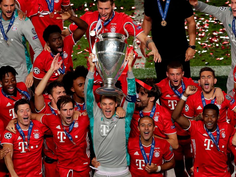 Bayern Munich celebrate winning the Champions League last seasonPOOL/AFP