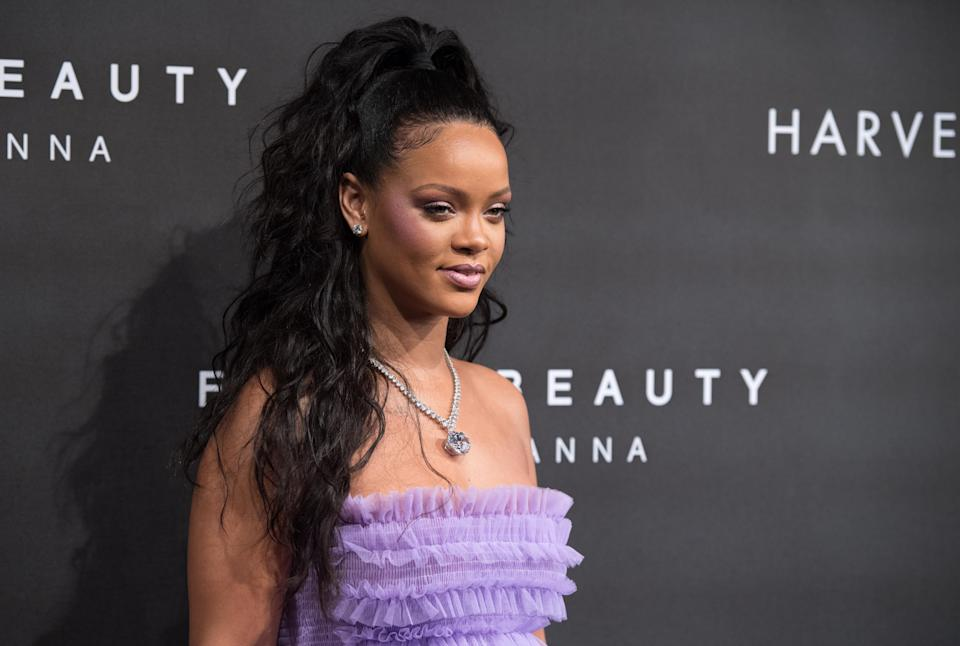 Rihanna hit up London for her latest Fenty Beauty launch. (Photo: Getty Images)
