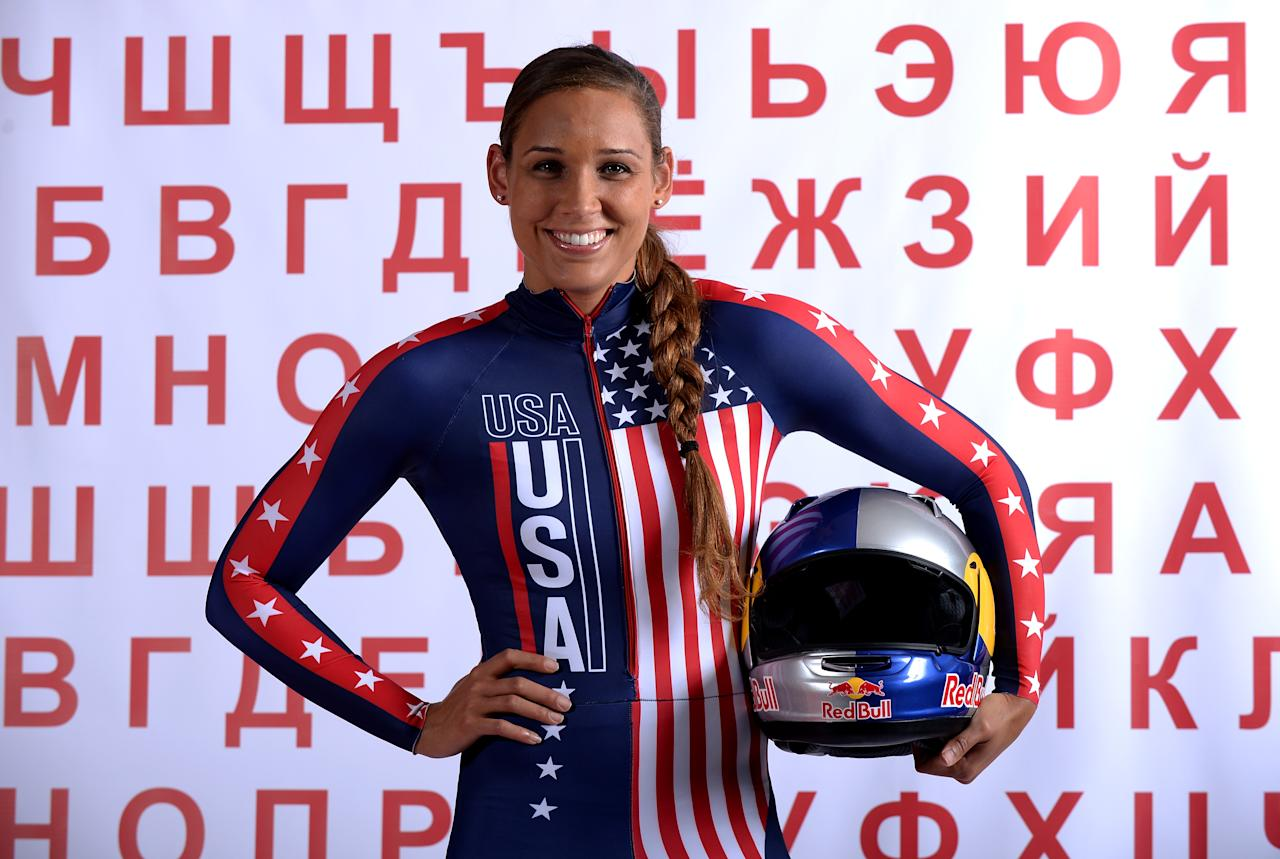 <p>After winning a gold medal at the 2013 FIBT Bobsled World Championship, Jones was selected as a brakewoman for the U.S. bobsled team at the 2014 Sochi Olympics. (Getty). </p>