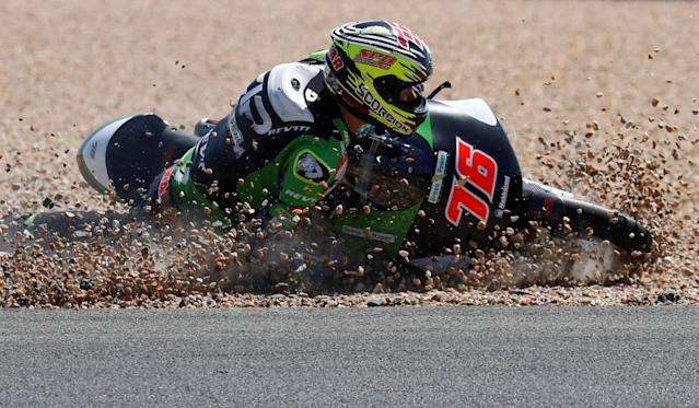 Motorcycling - Moto3 - French Grand Prix - Bugatti Circuit, Le Mans, France - May 19, 2018 KTM's Makar Yurchenko comes off the track during qualifying REUTERS/Gonzalo Fuentes