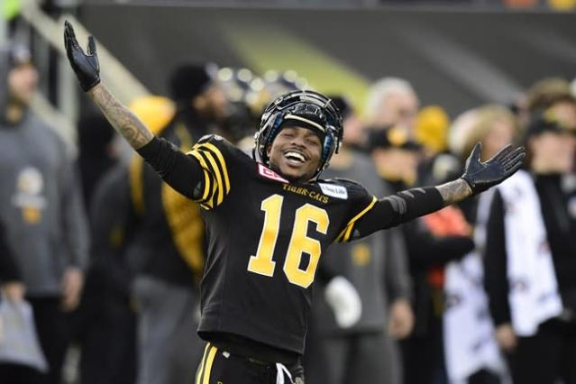 Hamilton Tiger-Cats wide receiver Brandon Banks had plenty to celebrate Sunday in the CFL East final. THE CANADIAN PRESS/Frank Gunn