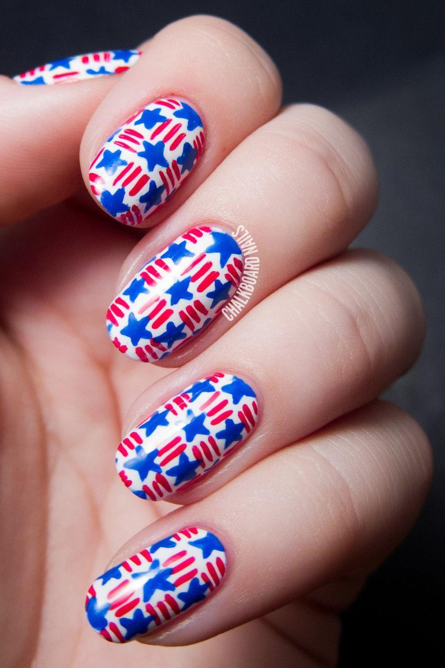 """<p>Show your country pride and talent for nail art by rocking these red-and-blue woven nails. It may be a little time-consuming, but totally worth it.</p><p><a class=""""link rapid-noclick-resp"""" href=""""http://amazon.com/Winstonia-Berry-Super-Brushes-Liner/dp/B016YPP5KE/?tag=syn-yahoo-20&ascsubtag=%5Bartid%7C10055.g.1278%5Bsrc%7Cyahoo-us"""" rel=""""nofollow noopener"""" target=""""_blank"""" data-ylk=""""slk:SHOP FINE BRUSHES"""">SHOP FINE BRUSHES</a></p><p><em><a href=""""http://www.chalkboardnails.com/2014/07/stars-and-stripes-basket-weave-nail-art.html"""" rel=""""nofollow noopener"""" target=""""_blank"""" data-ylk=""""slk:See more on Chalkboard Nails »"""" class=""""link rapid-noclick-resp"""">See more on Chalkboard Nails »</a></em><br></p>"""