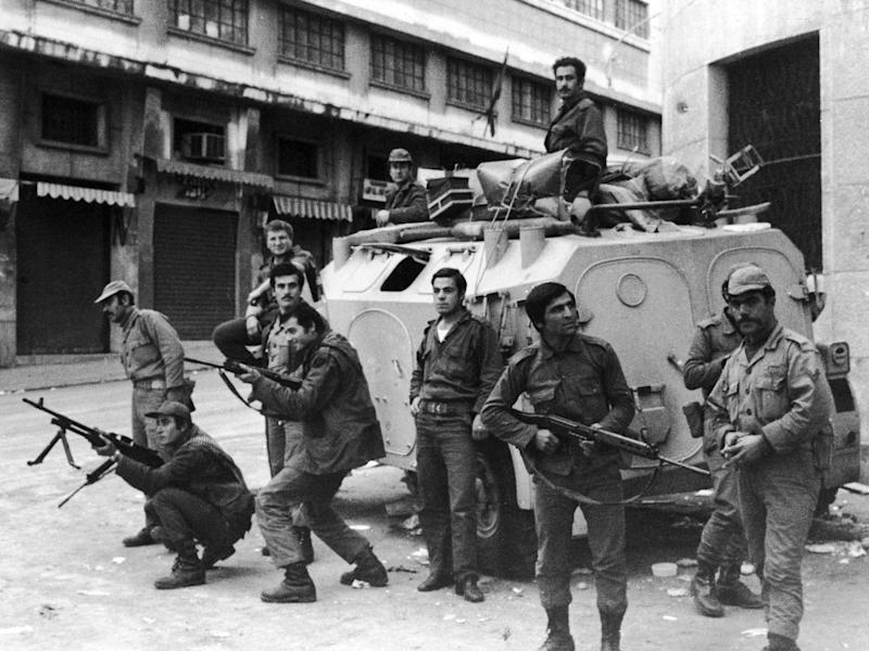 Security forces in Beirut during the Civil War in Lebanon, December 1975 (Getty Images)